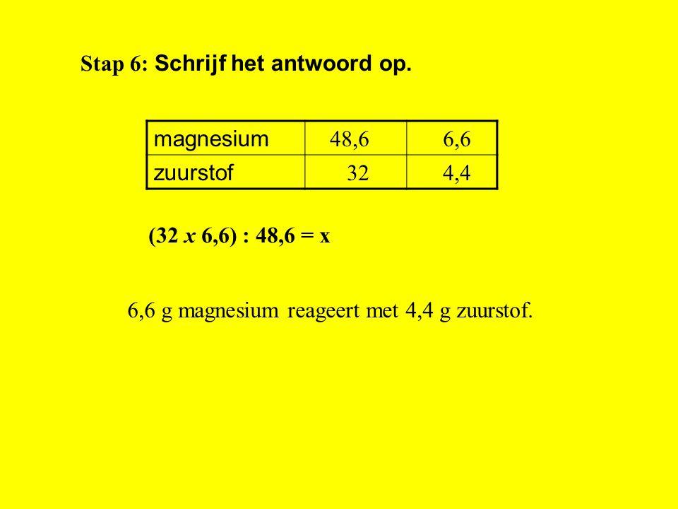 Stap 3: Zoek de massa's van de stoffen op: 2 Mg = 2 x 24,3 = 48,6 u O 2 = 2 x 16 = 32 u magnesium zuurstofx Stap 5: Bereken het antwoord met kruisling