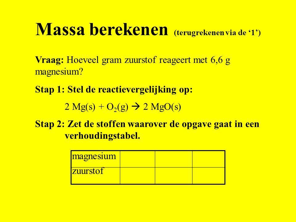 1 Reactievergelijking: 2 Mg(s) + O 2 (g)  2 MgO(s) 4,4 6 Antwoord: 6,6 g magnesium reageert met 4,4 g zuurstof. 48,6 32 6,6 Vraag: Hoeveel gram zuurs