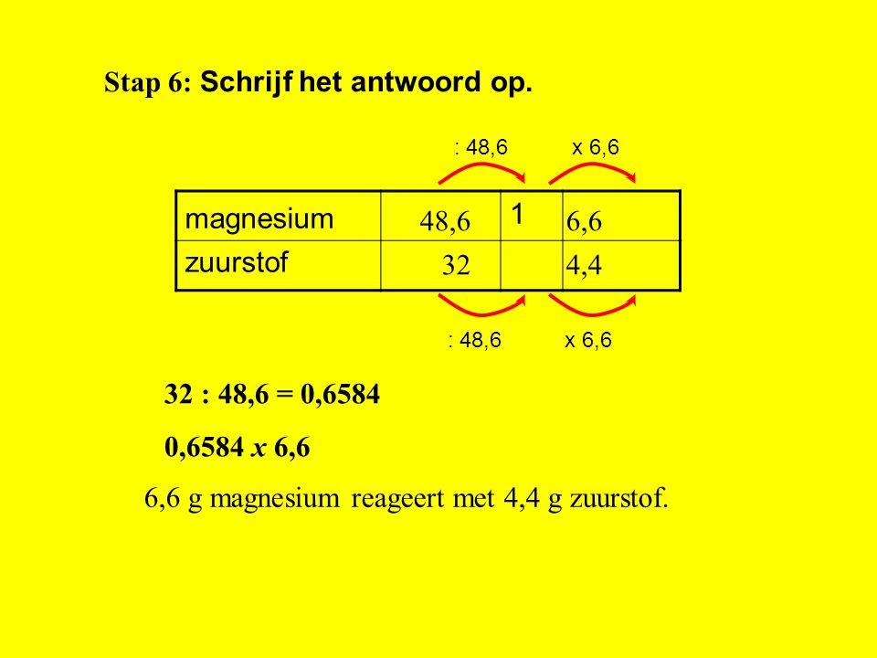 Stap 3: Zoek de massa's van de stoffen op: 2 Mg = 2 x 24,3 = 48,6 u O 2 = 2 x 16 = 32 u x zuurstof magnesium Stap 5: Bereken het antwoord met terugrek