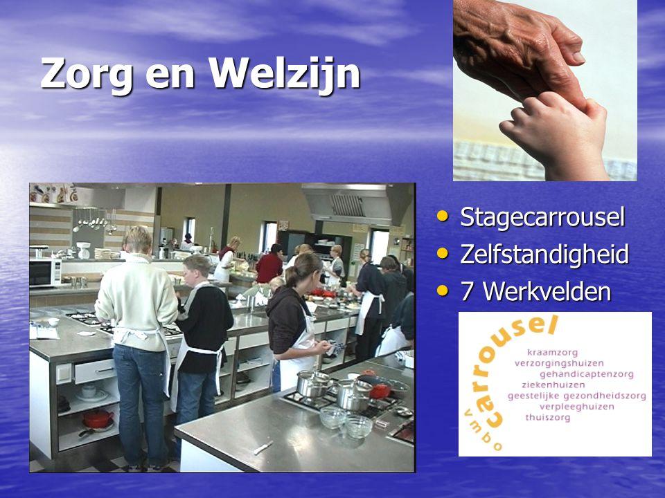 Zorg en Welzijn Stagecarrousel Stagecarrousel Zelfstandigheid Zelfstandigheid 7 Werkvelden 7 Werkvelden