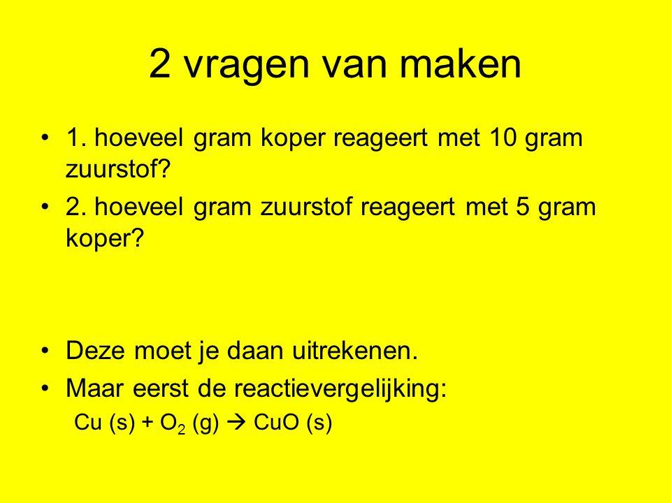Vraag 1 rv:Cu (s) + O2 (g)  CuO (s) mv: 63,5 g32 g95,5 g gg: x10 Er is voor 10 gram O 2 : 19,84 g Cu nodig (reken na) Je hebt 5 g Cu.