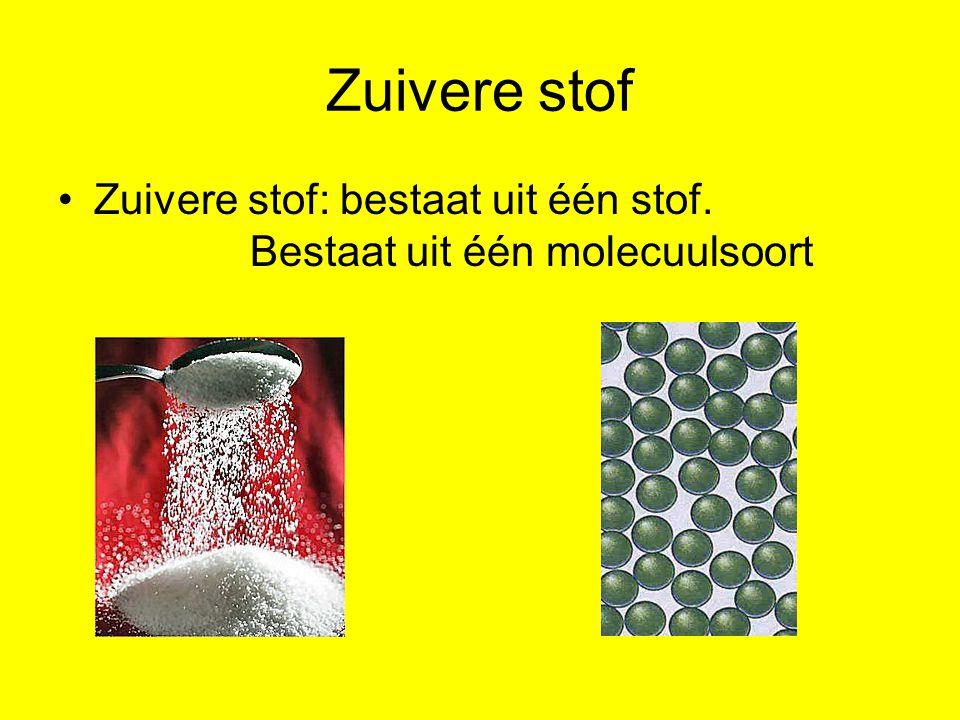 Zuivere stof Zuivere stof: bestaat uit één stof. Bestaat uit één molecuulsoort