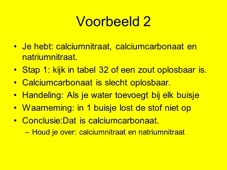 Voorbeeld 2 Je hebt: calciumnitraat, calciumcarbonaat en natriumnitraat. Stap 1: kijk in tabel 32 of een zout oplosbaar is. Calciumcarbonaat is slecht