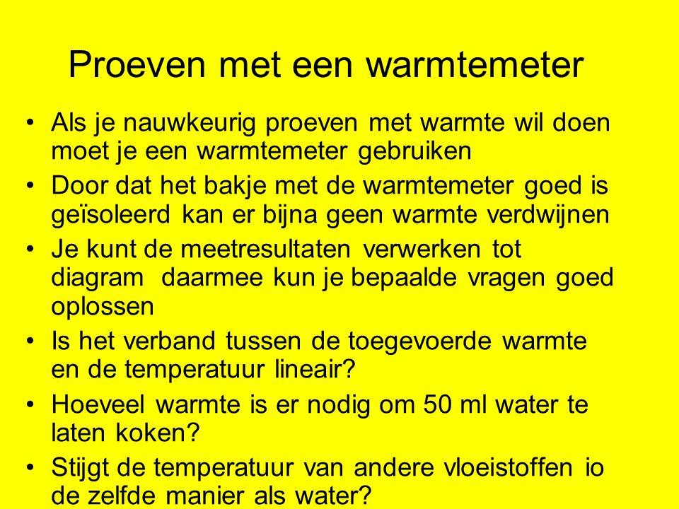 Proeven met een warmtemeter Als je nauwkeurig proeven met warmte wil doen moet je een warmtemeter gebruiken Door dat het bakje met de warmtemeter goed