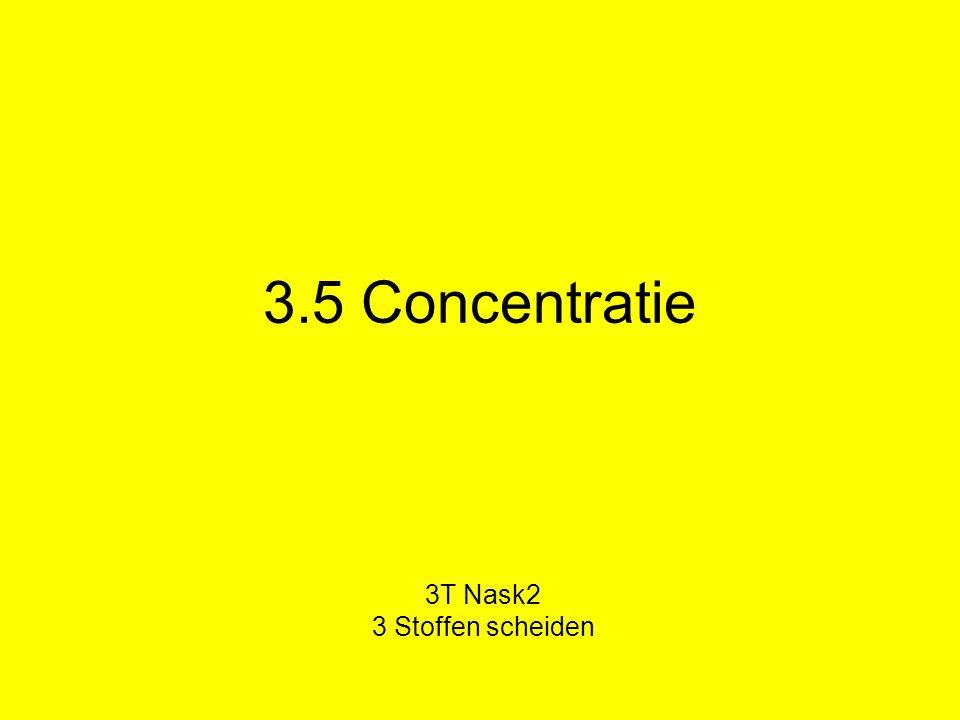 Concentratie Concentratie: hoeveel van een stof zit in een bepaald mengsel.