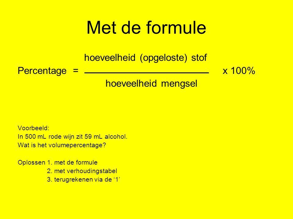 Met de formule hoeveelheid (opgeloste) stof Percentage = x 100% hoeveelheid mengsel Voorbeeld: In 500 mL rode wijn zit 59 mL alcohol. Wat is het volum