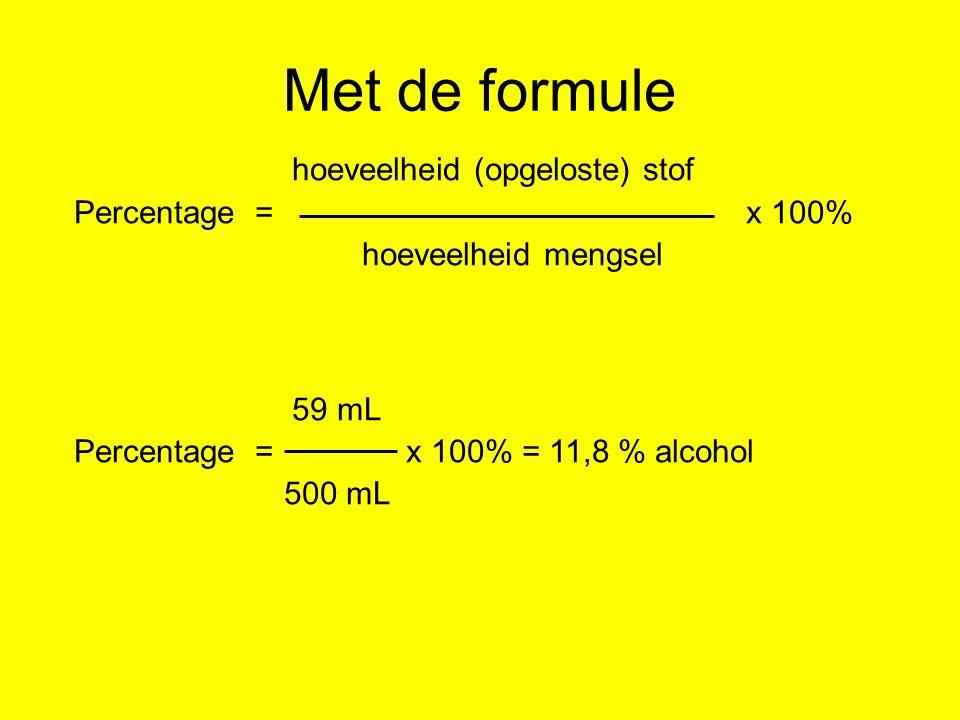 Met de formule hoeveelheid (opgeloste) stof Percentage = x 100% hoeveelheid mengsel 59 mL Percentage = x 100% = 11,8 % alcohol 500 mL
