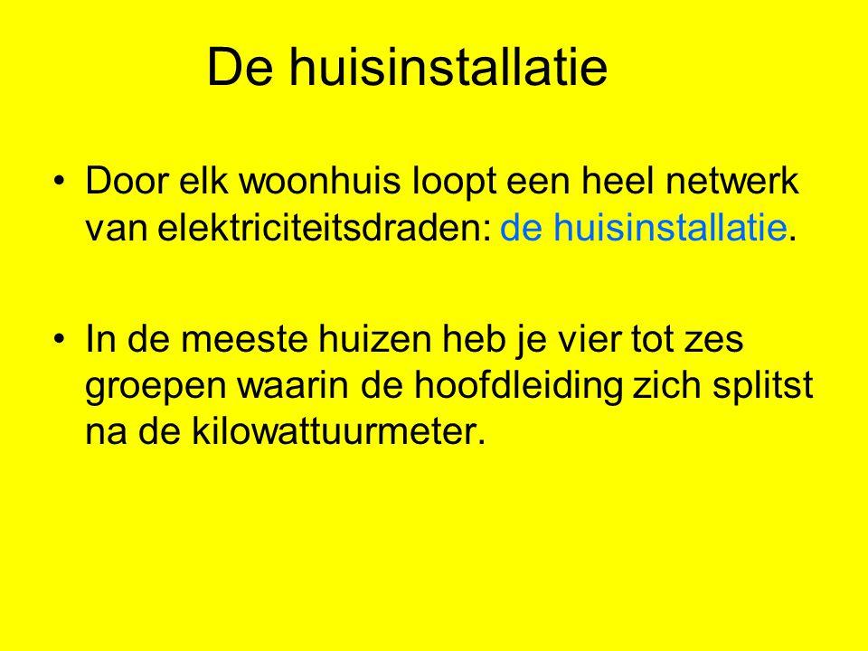 De huisinstallatie Door elk woonhuis loopt een heel netwerk van elektriciteitsdraden: de huisinstallatie. In de meeste huizen heb je vier tot zes groe