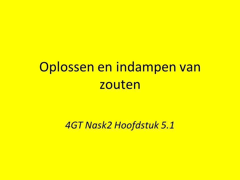 Oplossen en indampen van zouten 4GT Nask2 Hoofdstuk 5.1
