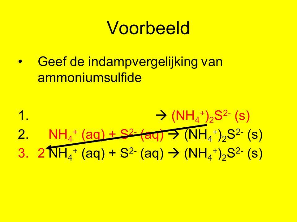 Voorbeeld Geef de indampvergelijking van ammoniumsulfide 1.