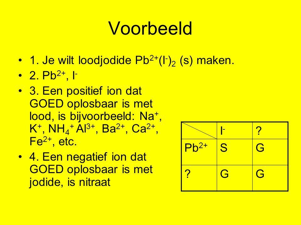 Voorbeeld 1. Je wilt loodjodide Pb 2+ (I - ) 2 (s) maken. 2. Pb 2+, I - 3. Een positief ion dat GOED oplosbaar is met lood, is bijvoorbeeld: Na +, K +