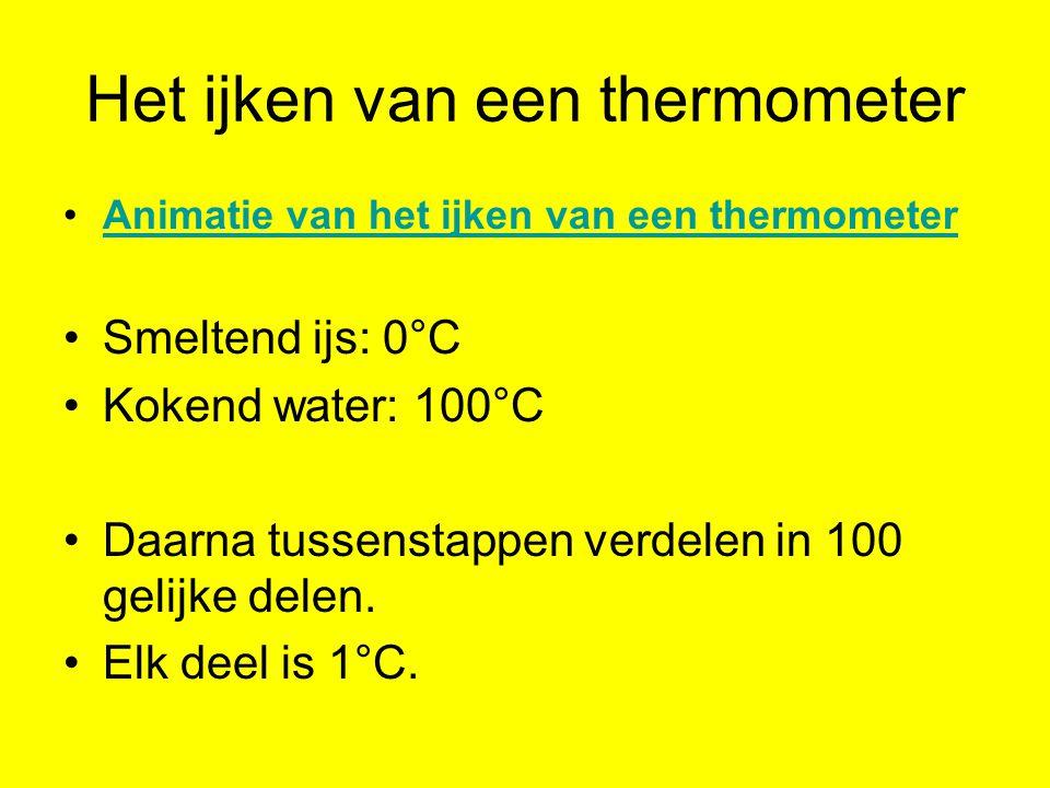 Het ijken van een thermometer Animatie van het ijken van een thermometer Smeltend ijs: 0°C Kokend water: 100°C Daarna tussenstappen verdelen in 100 gelijke delen.
