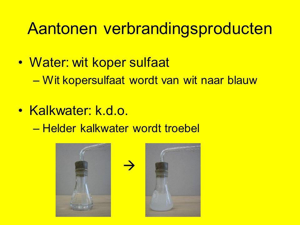 Aantonen verbrandingsproducten Water: wit koper sulfaat –Wit kopersulfaat wordt van wit naar blauw Kalkwater: k.d.o. –Helder kalkwater wordt troebel 