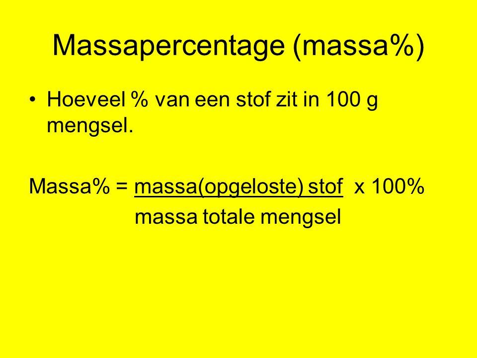 Massapercentage (massa%) Hoeveel % van een stof zit in 100 g mengsel. Massa% = massa(opgeloste) stof x 100% massa totale mengsel