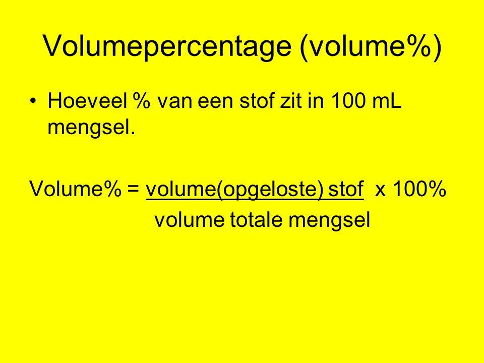 Volumepercentage (volume%) Hoeveel % van een stof zit in 100 mL mengsel. Volume% = volume(opgeloste) stof x 100% volume totale mengsel