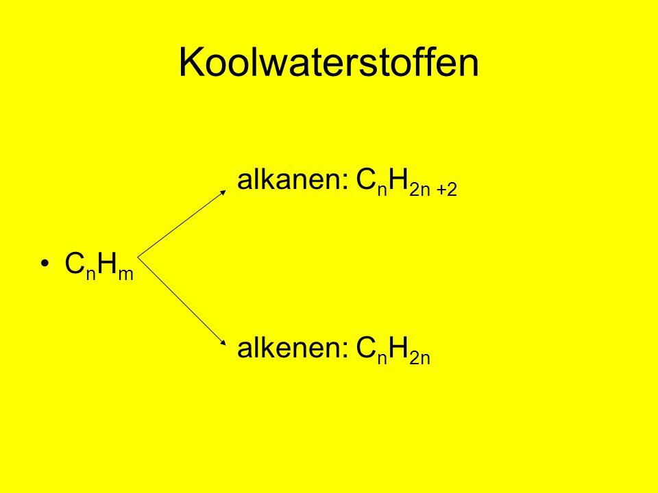 Koolwaterstoffen alkanen: C n H 2n +2 C n H m alkenen: C n H 2n