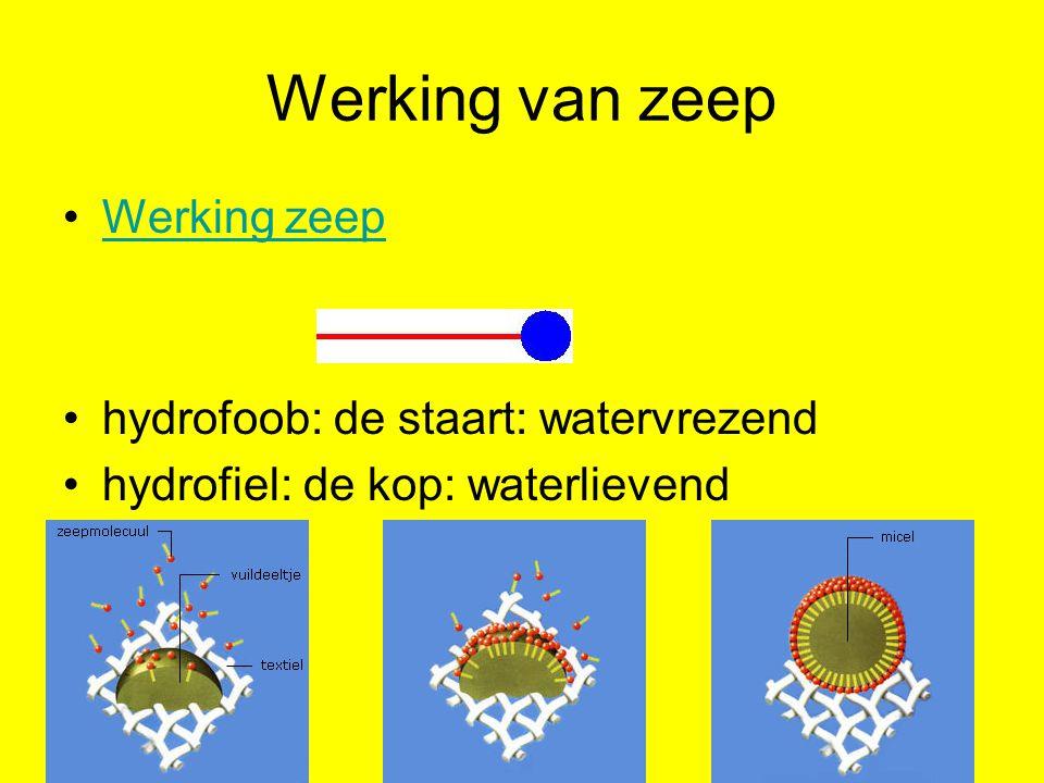 Werking van zeep Werking zeep hydrofoob: de staart: watervrezend hydrofiel: de kop: waterlievend