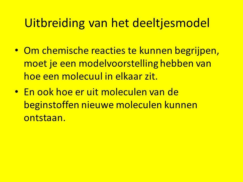 Uitbreiding van het deeltjesmodel Om chemische reacties te kunnen begrijpen, moet je een modelvoorstelling hebben van hoe een molecuul in elkaar zit.