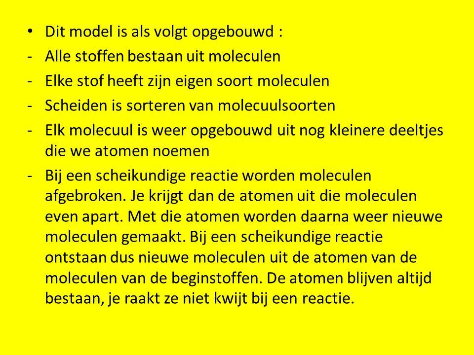 Dit model is als volgt opgebouwd : -Alle stoffen bestaan uit moleculen -Elke stof heeft zijn eigen soort moleculen -Scheiden is sorteren van molecuuls