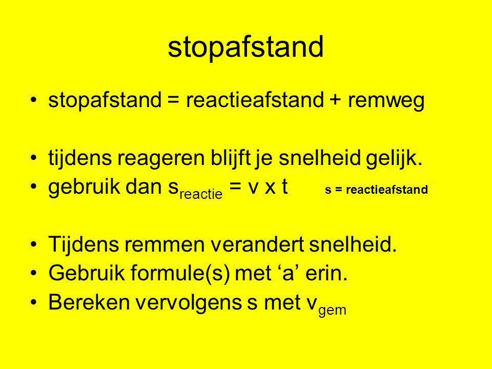 stopafstand stopafstand = reactieafstand + remweg tijdens reageren blijft je snelheid gelijk. gebruik dan s reactie = v x t s = reactieafstand Tijdens