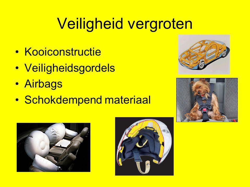 Veiligheid vergroten Kooiconstructie Veiligheidsgordels Airbags Schokdempend materiaal