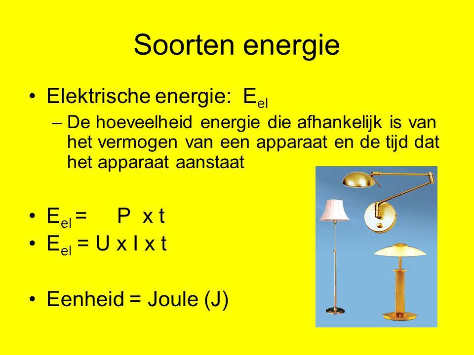 Soorten energie Elektrische energie: E el –De hoeveelheid energie die afhankelijk is van het vermogen van een apparaat en de tijd dat het apparaat aanstaat E el = P x t E el = U x I x t Eenheid = Joule (J)