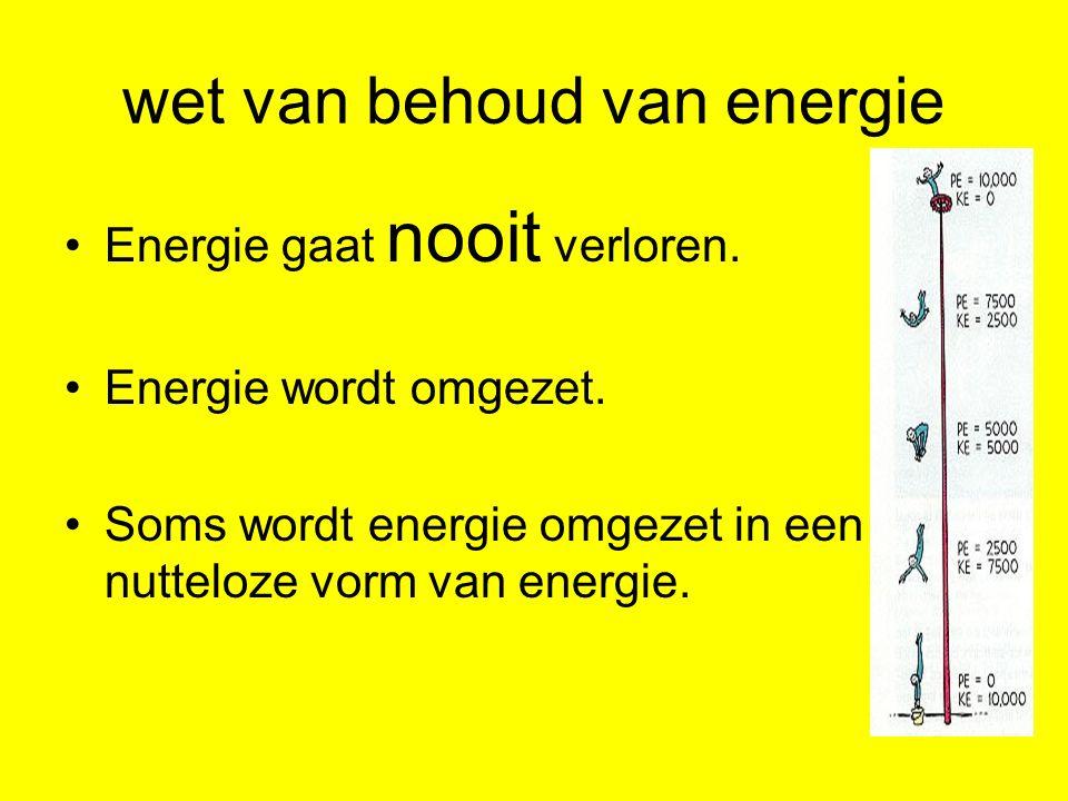 wet van behoud van energie Energie gaat nooit verloren.