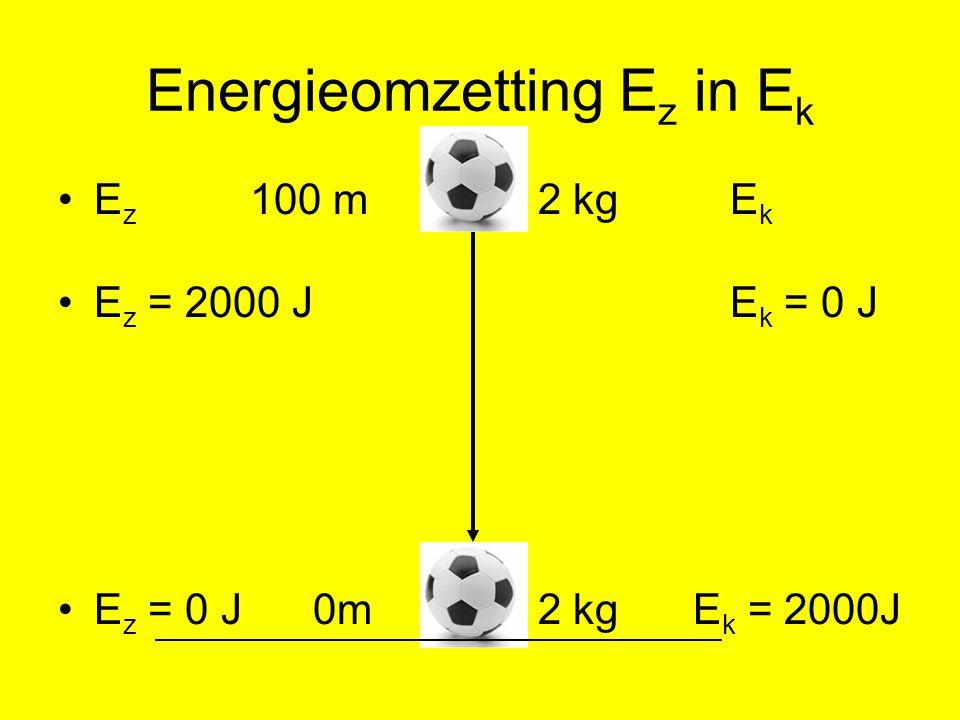 Berekenen snelheid Bewegingsenergie vlak boven grond = 2000 J.