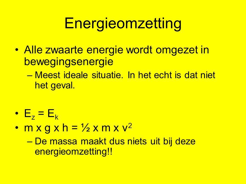 Energieomzetting Alle zwaarte energie wordt omgezet in bewegingsenergie –Meest ideale situatie.
