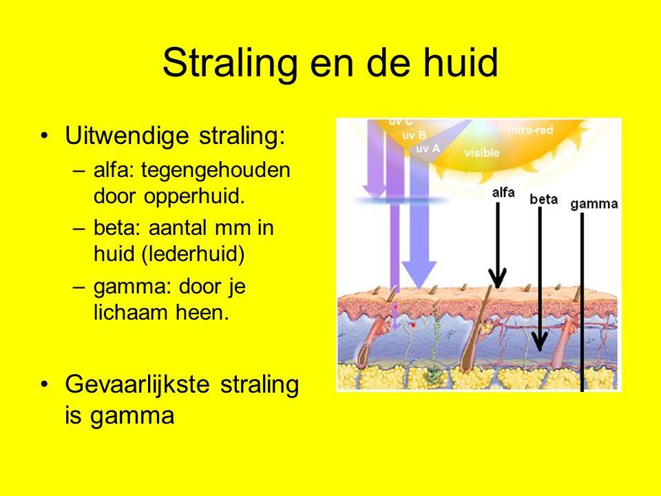 Straling en de huid Uitwendige straling: –alfa: tegengehouden door opperhuid. –beta: aantal mm in huid (lederhuid) –gamma: door je lichaam heen. Gevaa