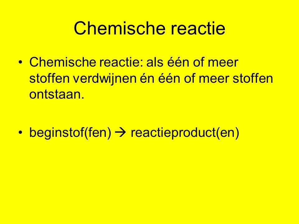 Reactieschema Een reactie wordt weergegeven in een reactieschema.