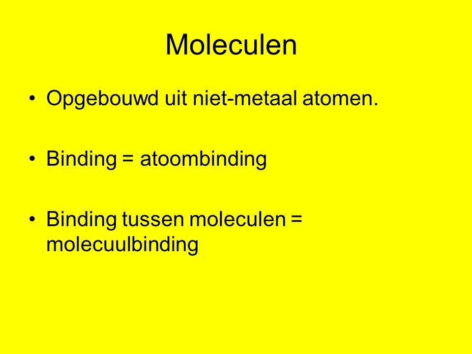 Moleculen Opgebouwd uit niet-metaal atomen. Binding = atoombinding Binding tussen moleculen = molecuulbinding