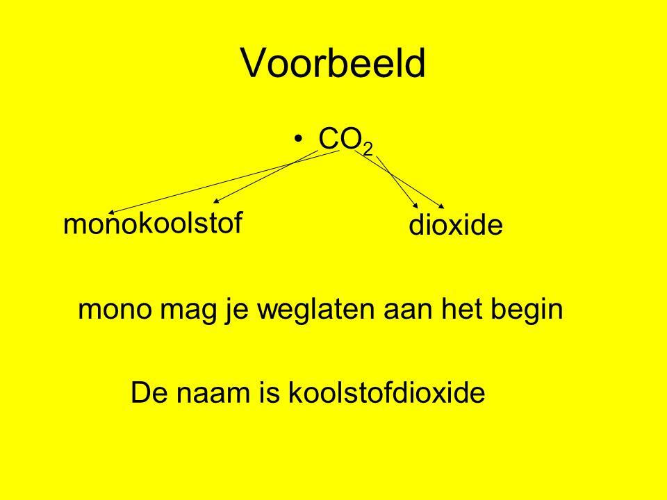 Voorbeeld CO 2 mono di koolstof oxide mono mag je weglaten aan het begin De naam is koolstofdioxide