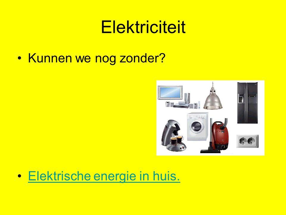 Elektriciteit Kunnen we nog zonder? Elektrische energie in huis.