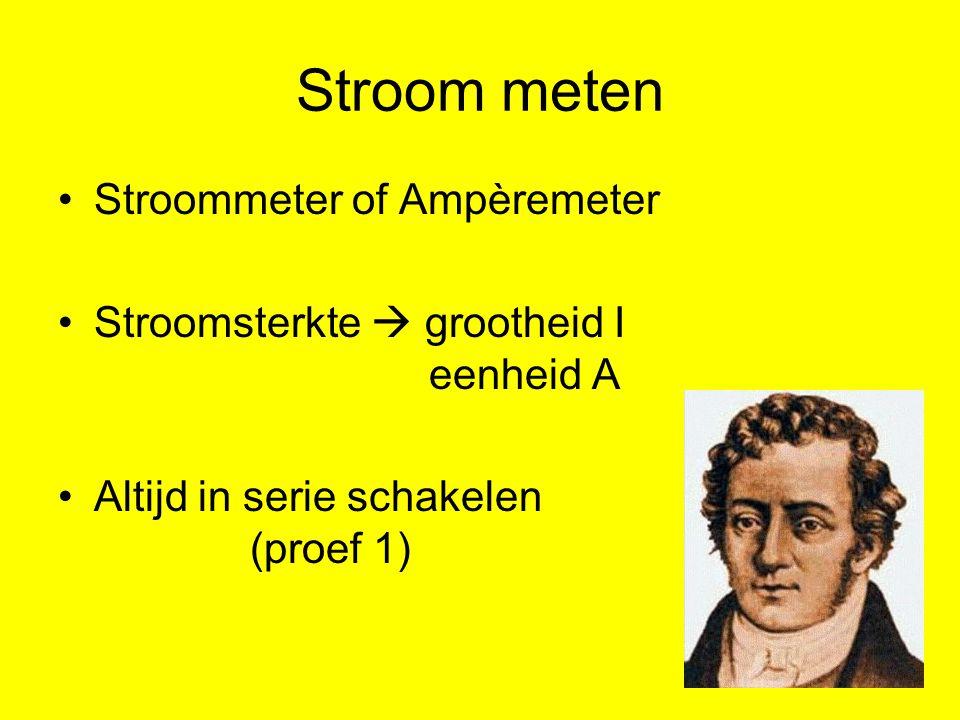 Stroom meten Stroommeter of Ampèremeter Stroomsterkte  grootheid I eenheid A Altijd in serie schakelen (proef 1)