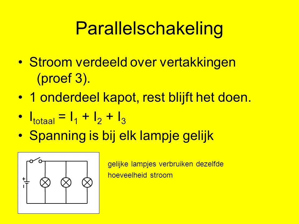 Parallelschakeling Stroom verdeeld over vertakkingen (proef 3). 1 onderdeel kapot, rest blijft het doen. I totaal = I 1 + I 2 + I 3 Spanning is bij el