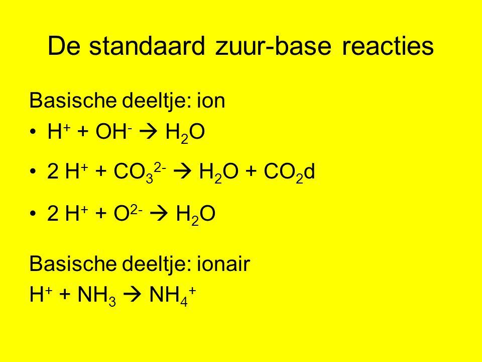 De standaard zuur-base reacties Basische deeltje: ion H + + OH -  H 2 O 2 H + + CO 3 2-  H 2 O + CO 2 d 2 H + + O 2-  H 2 O Basische deeltje: ionai
