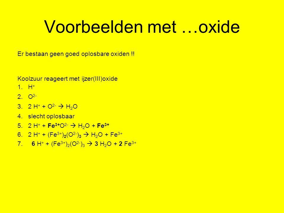 Voorbeelden met …oxide Er bestaan geen goed oplosbare oxiden !! Koolzuur reageert met ijzer(III)oxide 1.H + 2.O 2- 3.2 H + + O 2-  H 2 O 4.slecht opl