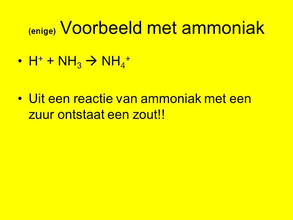 (enige) Voorbeeld met ammoniak H + + NH 3  NH 4 + Uit een reactie van ammoniak met een zuur ontstaat een zout!!