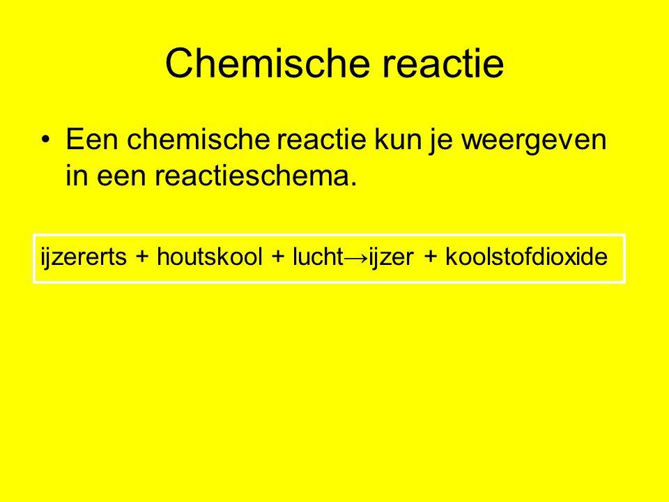 Chemische reactie Een chemische reactie kun je weergeven in een reactieschema.