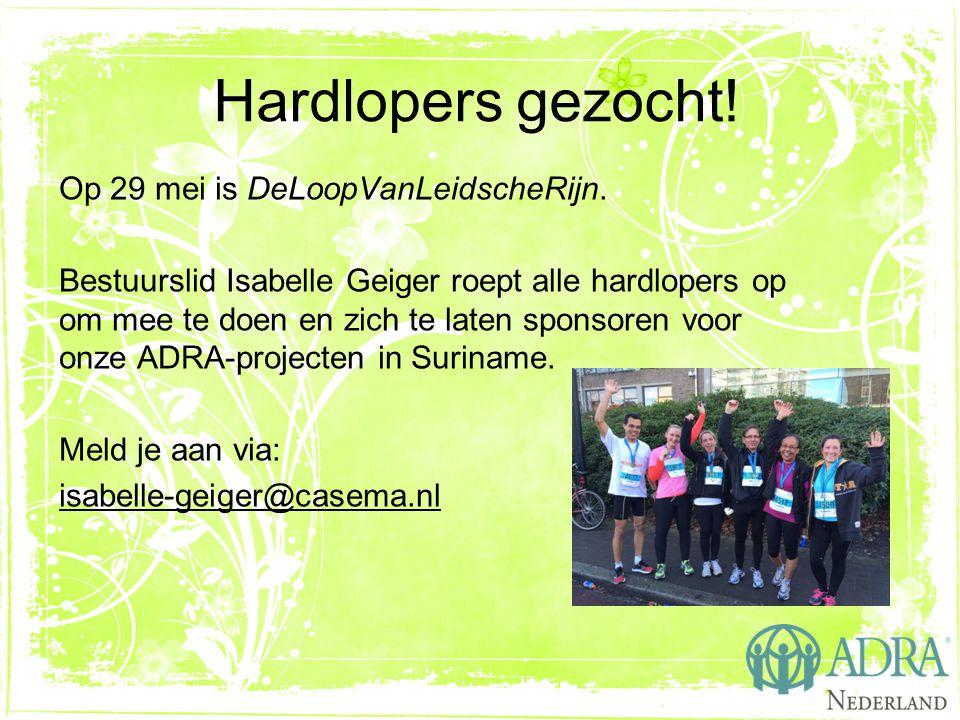 Hardlopers gezocht! Op 29 mei is DeLoopVanLeidscheRijn. Bestuurslid Isabelle Geiger roept alle hardlopers op om mee te doen en zich te laten sponsoren