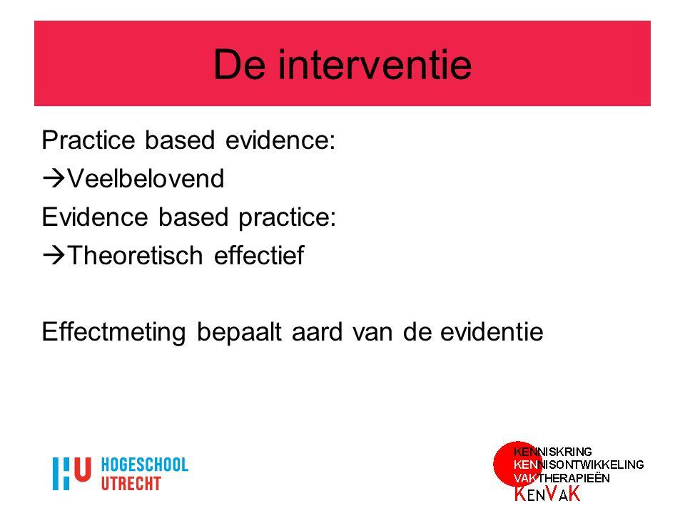 De interventie Practice based evidence:  Veelbelovend Evidence based practice:  Theoretisch effectief Effectmeting bepaalt aard van de evidentie