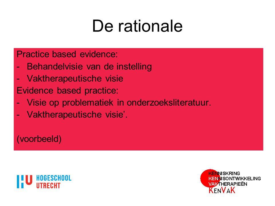 De rationale Practice based evidence: -Behandelvisie van de instelling -Vaktherapeutische visie Evidence based practice: -Visie op problematiek in ond