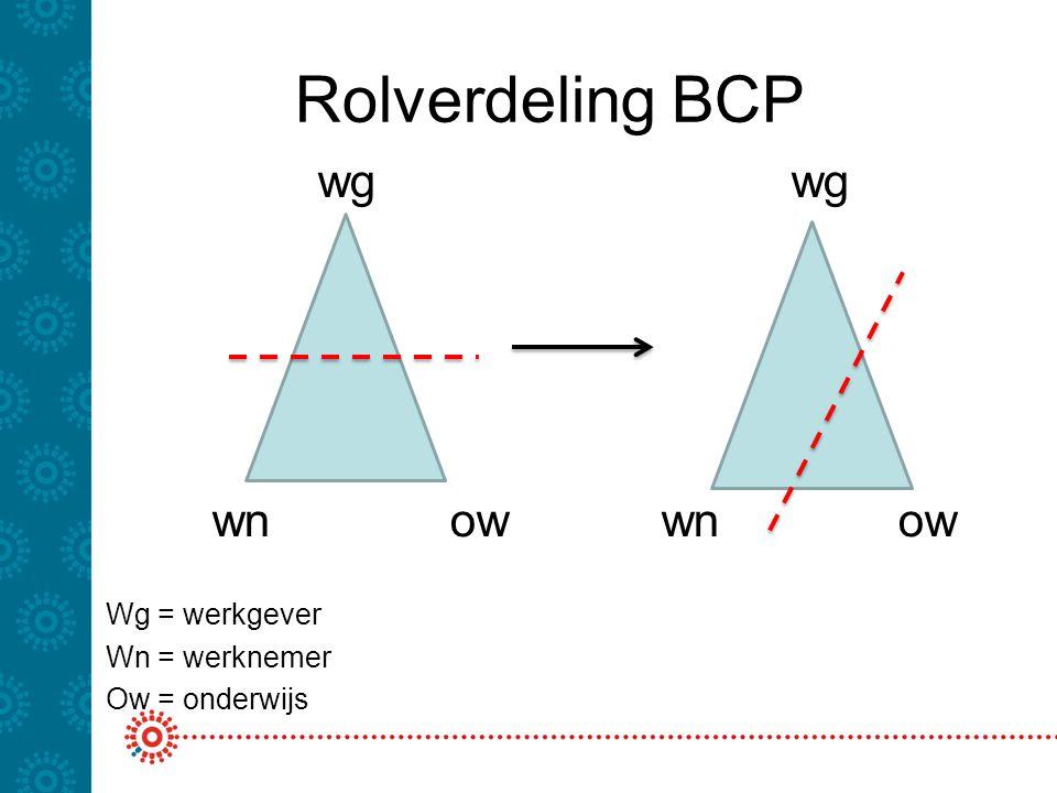 Rolverdeling BCP wg wn ow Wg = werkgever Wn = werknemer Ow = onderwijs