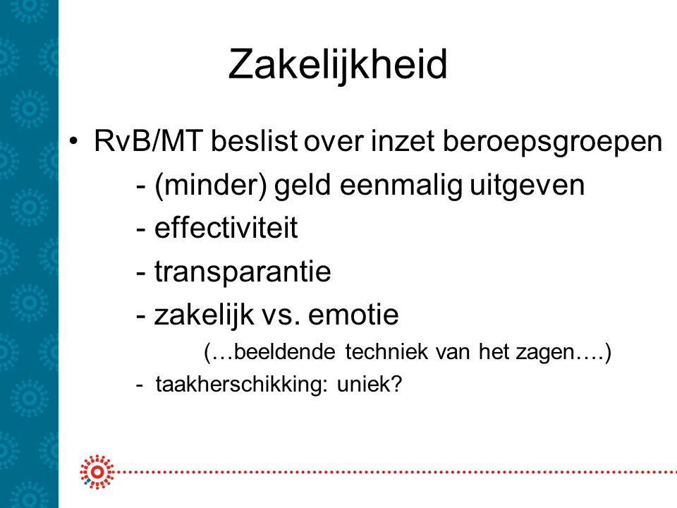 Zakelijkheid RvB/MT beslist over inzet beroepsgroepen - (minder) geld eenmalig uitgeven - effectiviteit - transparantie - zakelijk vs.