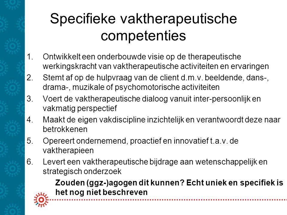 Specifieke vaktherapeutische competenties 1.Ontwikkelt een onderbouwde visie op de therapeutische werkingskracht van vaktherapeutische activiteiten en ervaringen 2.Stemt af op de hulpvraag van de client d.m.v.