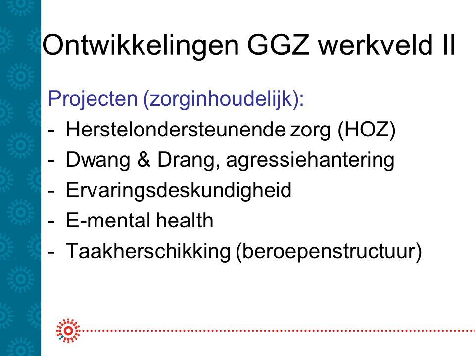 Ontwikkelingen GGZ werkveld II Projecten (zorginhoudelijk): -Herstelondersteunende zorg (HOZ) -Dwang & Drang, agressiehantering -Ervaringsdeskundigheid -E-mental health -Taakherschikking (beroepenstructuur)