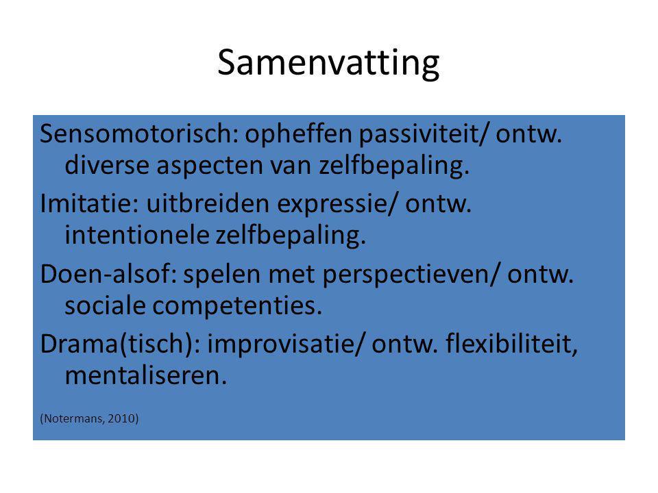 Samenvatting Sensomotorisch: opheffen passiviteit/ ontw. diverse aspecten van zelfbepaling. Imitatie: uitbreiden expressie/ ontw. intentionele zelfbep