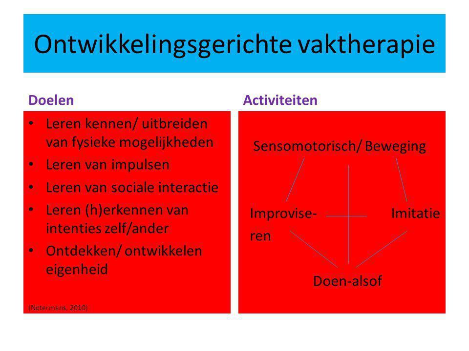 Ontwikkelingsgerichte vaktherapie Doelen Leren kennen/ uitbreiden van fysieke mogelijkheden Leren van impulsen Leren van sociale interactie Leren (h)e