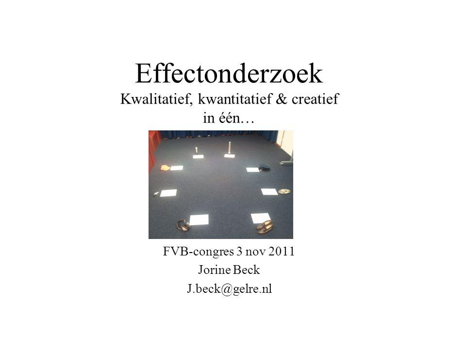 Effectonderzoek Kwalitatief, kwantitatief & creatief in één… FVB-congres 3 nov 2011 Jorine Beck J.beck@gelre.nl